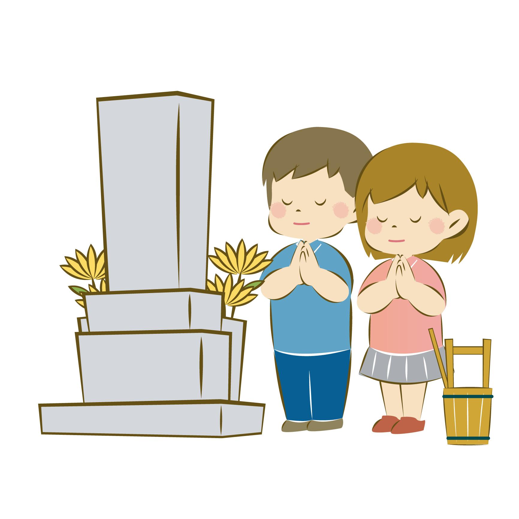子供のお墓参りイラスト